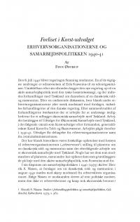 HT 2016:1, s. 31-72 - Finn Østrup: Forliset i Korst-udvalget. Erhvervsorganisationerne og samarbejdspolitikken 1940-41