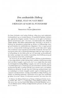 HT 2017:1, s. 1-34 - Sebastian Olden-Jørgensen: Den antikatolske Holberg: kirke, stat og naturret i skyggen af Samuel Pufendorf