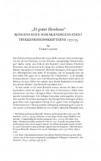 """HT 2017:1, s. 35-60 - Ulrik Langen: """"Et grønt Horehuus"""". Kongens Have som skændslens sted i trykkefrihedsskrifterne 1771-73"""