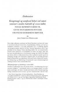 HT 2017:1, s. 97-118- Jens Christian Moesgaard: Kongemagt og samfund belyst ved møntvæsenet i anden halvdel af 1000-tallet. Nogle kommentarer til Gitte Ingvardsons syntese om Svend Estridsens mønter