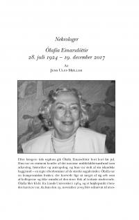 HT 2017:2, s. 531-535 - Jens Ulff-Møller: Ólafia Einarsdóttir 28. juli 1924 - 19. december 2017