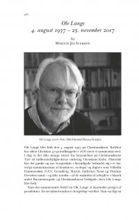 HT 2018:1, s. 186-189 - Martin Jes Iversen: Ole Lange 4. august 1937 – 25. november 2017
