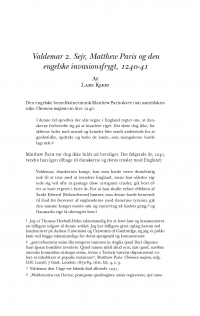 HT 2018:1, s. 21-50 - Lars Kjær: Valdemar 2. Sejr, Matthew Paris og den engelske invasionsfrygt, 1240-41