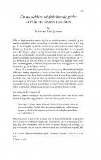 HT 2018:2, s. 453-460 - Bernard Eric Jensen: En anmelders selvfabrikerede gåder. Replik til Simon Larsson