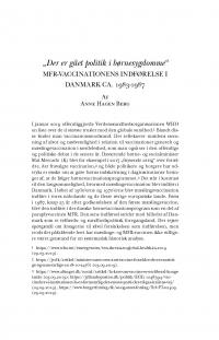 """HT 2020:2, s. 465-500 - Anne Hagen Berg: """"Der er gået politik i børnesygdomme"""". MFR-vaccinationens indførelse i  Danmark ca. 1983-1987"""