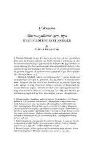 HT 2020:2, s. 501-511 - Patrick Kragelund: Marmorgalleriet igen, igen. Hvad kilderne faktisk siger